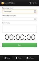 Simple timer screen where you can select a project, enter comments and start timing.